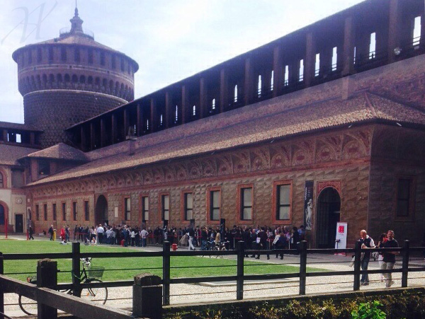 the Sforza Castle and its impressive court yards
