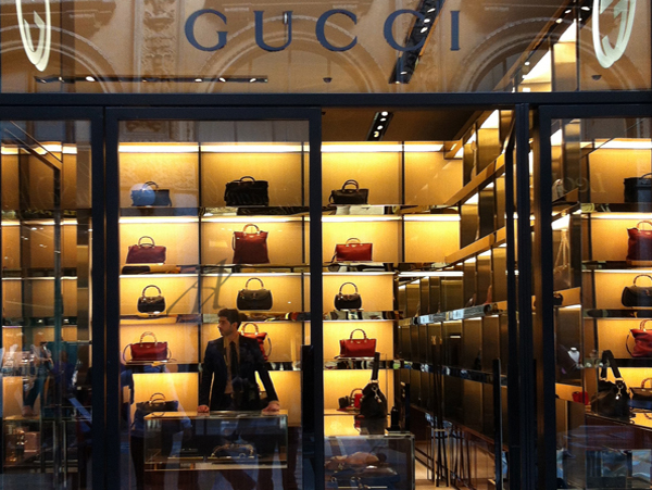 Gucci's shop window in the Galleria