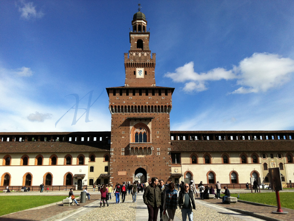 The Sforza Caste and its court yards