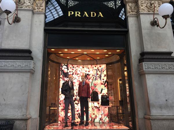 Prada's shop window in the Gallery